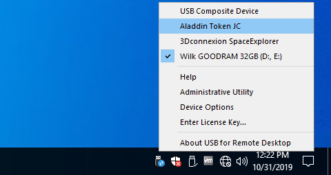 USB for Remote Desktopp menu